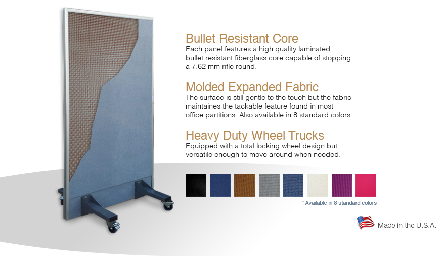 Bullet resistant partition for office workspace, schools or temporary security locations