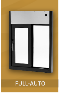 "Fully Automatic Pass Through Windows come in various styles and offer total ""hands-free"" operation. The windows open and close when the beam of a photo electric bar is broken. Windows are standard with 1/4"" tempered glass. Optional 5/8"" insulated glass."