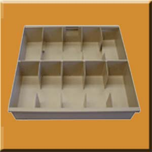 5001 Ten Compartment Teller Styrene Cash Tray